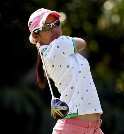 SINGAPORE - FEBRUARY 24:  Ai Miyazato of Japan hits her tee-shot on the seventh hole during the Pro Am prior to the start of the HSBC Women's Champions at the Tanah Merah Country Club  on February 24, 2010 in Singapore.  (Photo by Andrew Redington/Getty Images)