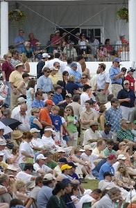 Crowds watch the action on the 18th green during the second round of the Regions Charity Classic held at Robert Trent Jones Golf Trail at Ross Bridge in Birmingham, AL, on May 6, 2006.Photo by Steve Levin/WireImage.com