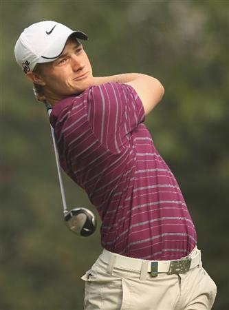 NEW DELHI, INDIA - FEBRUARY 13:  Oliver Fisher of England in action during Round Three of the Avantha Masters held at The DLF Golf and Country Club on February 13, 2010 in New Delhi, India.  (Photo by Ian Walton/Getty Images)