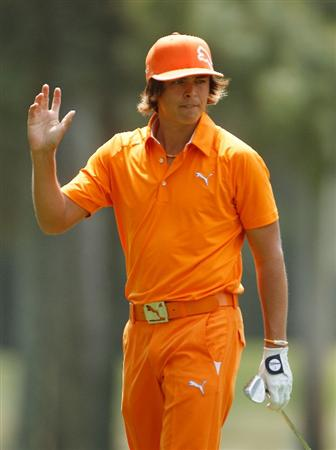 HILTON HEAD ISLAND, SC - APRIL 18:  Rickie Fowler waves to the gallery on the ninth hole during the final round of the Verizon Heritage at the Harbour Town Golf Links on April 18, 2010 in Hilton Head lsland, South Carolina.  (Photo by Scott Halleran/Getty Images)