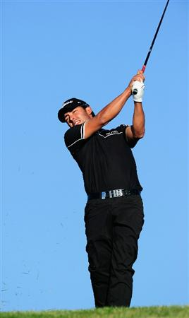 MADRID, SPAIN - MAY 30:  Pablo Larrazabal of Spain plays his approach shot on the third hole during the final round of the Madrid Masters at Real Sociedad Hipica Espanola Club De Campo on May 30, 2010 in Madrid, Spain.  (Photo by Stuart Franklin/Getty Images)