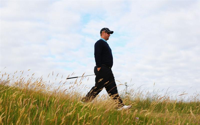 TURNBERRY, SCOTLAND - JULY 14:   David Duval of USA walks to a tee during a practice round prior to the 138th Open Championship on July 14, 2009 on the Ailsa Course, Turnberry Golf Club, Turnberry, Scotland. (Photo by Andrew Redington/Getty Images)