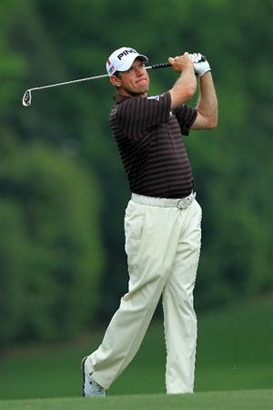 AUGUSTA, GA - APRIL 08:  Lee Westwood of England hits his second shot on the fifth hole during the second round of the 2011 Masters Tournament at Augusta National Golf Club on April 8, 2011 in Augusta, Georgia.  (Photo by David Cannon/Getty Images)