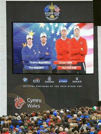 NEWPORT, WALES - SEPTEMBER 30:  General View of the big screen displaying the four ball pairings for day one during the Opening Ceremony prior to the 2010 Ryder Cup at the Celtic Manor Resort on September 30, 2010 in Newport, Wales.  (Photo by David Cannon/Getty Images)