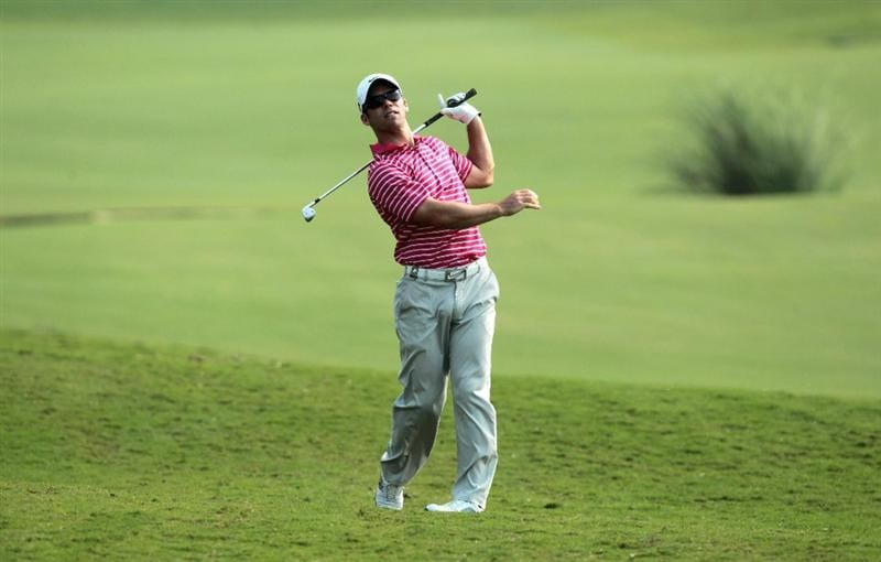DUBAI, UNITED ARAB EMIRATES - NOVEMBER 23:  Paul Casey of England in action during the Pro Am prior to the start of the Dubai World Championship on the Earth Course, Jumeirah Golf Estates on November 23, 2010 in Dubai, United Arab Emirates.  (Photo by David Cannon/Getty Images)