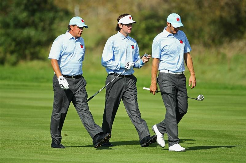 NEWPORT, WALES - SEPTEMBER 28:  (L-R) Phil Mickelson, Bubba Watson and Dustin Johnson of the USA walk together during a practice round prior to the 2010 Ryder Cup at the Celtic Manor Resort on September 28, 2010 in Newport, Wales.  (Photo by Andy Lyons/Getty Images)