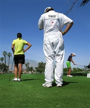 RANCHO MIRAGE, CA - APRIL 06:  Hee-Won Han of Korea  (L), caddie, and Lorena Ochoa of Mexico wait to tee off on the fifth hole during the final round of the Kraft Nabisco Championship at Mission Hills Country Club on April 6, 2008 in Rancho Mirage, California.  (Photo by Stephen Dunn/Getty Images)