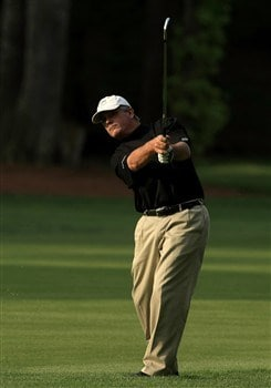 CHARLOTTE, NC - MAY 02:  Paul Goydos plays into the 3rd green during the second round of the Wachovia Championship at Quail Hollow Country Club on May 2, 2008 Charlotte, North Carolina.  (Photo by Richard Heathcote/Getty Images)