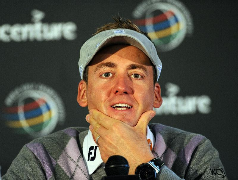 MARANA, AZ - FEBRUARY 22:  Ian Poulter of England addresses the media during his press conference prior to the start of the World Golf Championships-Accenture Match Play Championship held at The Ritz-Carlton Golf Club, Dove Mountain on February 22, 2011 in Marana, Arizona.  (Photo by Stuart Franklin/Getty Images)