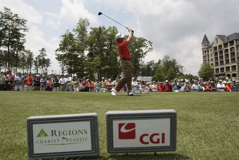 BIRMINGHAM, AL - MAY 14: Hale Irwin tees off on the first hole during the Thursday Pro-AM of the Regions Charity Classic at the Robert Trent Jones Golf Trail at Ross Bridge on May 14, 2009  in Birmingham, Alabama. (Photo by Dave Martin/Getty Images)