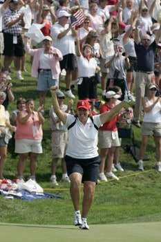 Meg Mallon finishes her match on the 17th hole during the Sunday singles matches at the Solheim Cup at Crooked Stick Golf Club in Carmel, Indiana on September 11, 2005. Her match clinched the win for the United States.Photo by Michael Cohen/WireImage.com