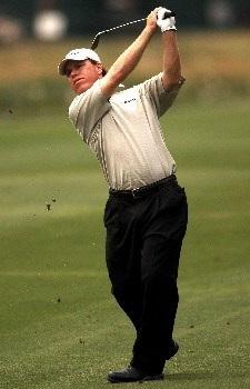 Briny Baird hits from the 10th fairway during the first round of the 2005 Shell Houston Open at the Redstone Golf Club in Houston, Texas April 21, 2005.Photo by Steve Grayson/WireImage.com