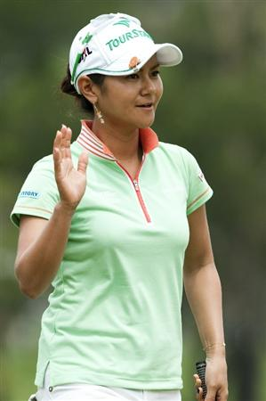 CHON BURI, THAILAND - FEBRUARY 17:  Ai Miyazato of Japan acknowledges the crowd on the 5th hole during day one of the LPGA Thailand at Siam Country Club on February 17, 2011 in Chon Buri, Thailand.  (Photo by Victor Fraile/Getty Images)