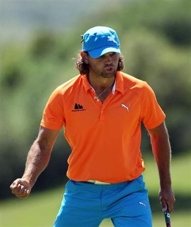CASARES, SPAIN - MAY 21:  Johan Edfors of Sweden celebrates after holing a putt on the 18th hole during his last 16 match at the Volvo World Match Play Championship at Finca Cortesin on May 21, 2011 in Casares, Spain.  (Photo by Andrew Redington/Getty Images)