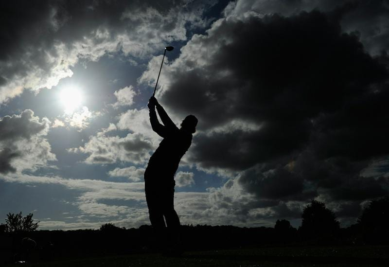 PARIS - SEPTEMBER 25:  Jarmo Sandelin of Sweden plays his tee shot on the 15th hole during the third round of the Vivendi cup at Golf de Joyenval on September 25, 2010 in Chambourcy, near Paris, France.  (Photo by Stuart Franklin/Getty Images)