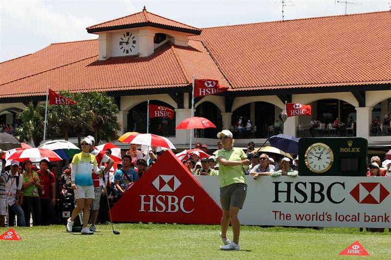 SINGAPORE - FEBRUARY 26:  Karrie Webb of Australia during the third round of the HSBC Women's Champions at Tanah Merah Country Club  on February 26, 2011 in Singapore, Singapore.  (Photo by Ross Kinnaird/Getty Images)