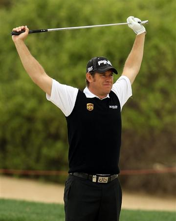 ABU DHABI, UNITED ARAB EMIRATES - JANUARY 19:  Lee Westwood of England during the pro-am event prior to the Abu Dhabi HSBC Golf Championship at the Abu Dhabi Golf Club on January 19, 2011 in Abu Dhabi, United Arab Emirates.  (Photo by Ross Kinnaird/Getty Images)