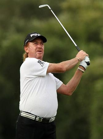 SOTOGRANDE, SPAIN - OCTOBER 29:  Miguel Angel Jimenez of Spain plays into the 5th green during the second round of the Andalucia Valderrama Masters at Club de Golf Valderrama on October 29, 2010 in Sotogrande, Spain.  (Photo by Richard Heathcote/Getty Images)