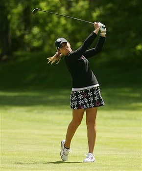CORNING, NY - MAY 24:  Erica Blasberg hits her second shot on the 13th hole during the third round of the LPGA Corning Classic at Corning Country Club on May 24, 2008 in Corning, New York.  (Photo by Kyle Auclair/Getty Images)