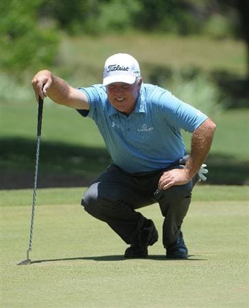 AUSTIN, TX - JUNE 06: Mark O'Meara looks over a putt for eagle on the 3rd hole during the second round of the Triton Financial Classic  held at The Hills Country Club on June 6, 2009 in Austin, Texas. (Photo by Marc Feldman/Getty Images)