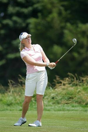 GALLOWAY, NJ - JUNE 19: Morgan Pressel watches her shot during the second round of the ShopRite LPGA Classic held at Dolce Seaview Resort (Bay Course) on June 19, 2010 in Galloway, New Jersey.  (Photo by Michael Cohen/Getty Images)