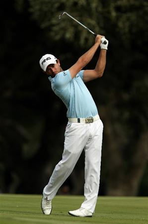 SOTOGRANDE, SPAIN - OCTOBER 30:  Gareth Maybin of Northern Ireland plays into the 14th green during the third round of the Andalucia Valderrama Masters at Club de Golf Valderrama on October 30, 2010 in Sotogrande, Spain.  (Photo by Richard Heathcote/Getty Images)
