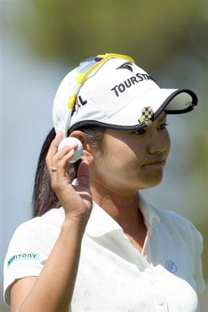 LA JOLLA, CA - SEPTEMBER 20:  Ai Miyazato of Japan acknowledges crowd after her putt on the 6th hole during the final round of the LPGA Samsung World Championship on September 20, 2009 at Torrey Pines Golf Course in La Jolla, California.  (Photo By Donald Miralle/Getty Images)