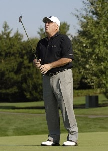 Doug Tewell reacts to a missed putt during the second round of the JELD-WEN Tradition at The Reserve Vineyards & Golf Club in Aloha, Oregon on Friday, August 25, 2006.Photo by Steve Levin/WireImage.com