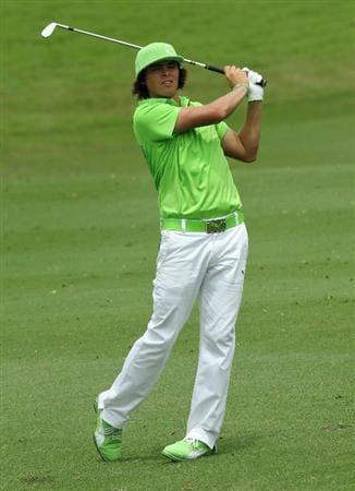 KUALA LUMPUR, MALAYSIA - OCTOBER 30: Rickie Fowler of USA watches his 2nd shot on the 9th hole during day three of the CIMB Asia Pacific Classic at The MINES Resort & Golf Club on October 30, 2010 in Kuala Lumpur, Malaysia. (Photo by Stanley Chou/Getty Images)