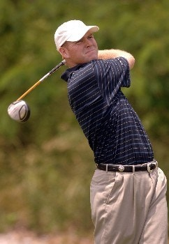 Troy Matteson hits from the tee during Round Three of the Chattanooga Classic  at Black Creek Club in Chattanooga, Tennessee on June 4, 2005.Photo by Joe Murphy/WireImage.com