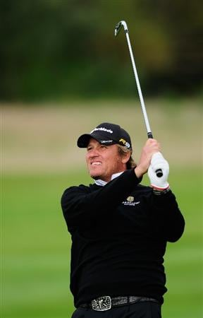 PARIS - SEPTEMBER 25:  Jarmo Sandelin of Sweden plays his approach shot on the 15th hole during the third round of the Vivendi cup at Golf de Joyenval on September 25, 2010 in Chambourcy, near Paris, France.  (Photo by Stuart Franklin/Getty Images)