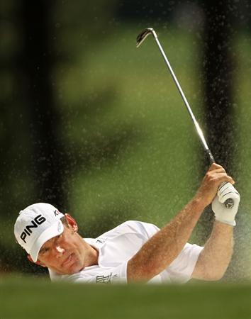 AUGUSTA, GA - APRIL 09:  Lee Westwood of England plays a bunker shot on the first hole during the third round of the 2011 Masters Tournament at Augusta National Golf Club on April 9, 2011 in Augusta, Georgia.  (Photo by Jamie Squire/Getty Images)