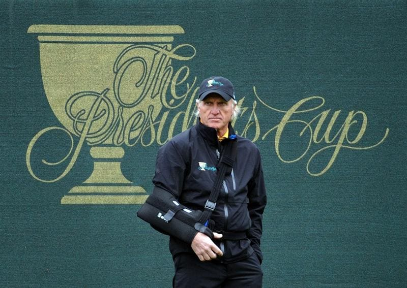 SAN FRANCISCO - OCTOBER 11:  Captain Greg Norman of the International Team watches play on the 17th green during the Day Four Singles Matches of The Presidents Cup at Harding Park Golf Course on October 11, 2009 in San Francisco, California.  (Photo by Harry How/Getty Images)