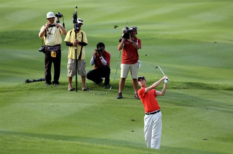 KUALA LUMPUR, MALAYSIA - MARCH 06:  Rhys Davies of Wales on the 18th hole during the third round of the Maybank Malaysia Open at the Kuala Lumpur Golf & Country on March 6, 2010 in Kuala Lumpur, Malaysia.  (Photo by Ross Kinnaird/Getty Images)