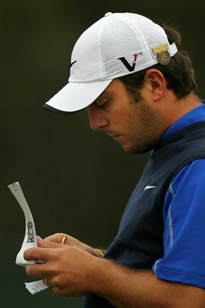 PEBBLE BEACH, CA - JUNE 17:  Francesco Molinari of Italy looks over his yardage book on the second hole during the first round of the 110th U.S. Open at Pebble Beach Golf Links on June 17, 2010 in Pebble Beach, California.  (Photo by Donald Miralle/Getty Images)
