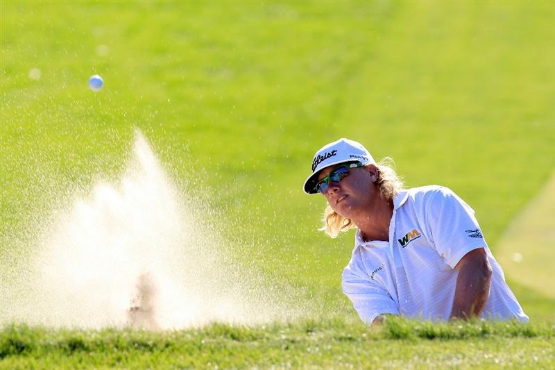 NORTON, MA - SEPTEMBER 06:  Charley Hoffman hits a shot out of the bunker on the 13th hole during the final round of the Deutsche Bank Championship at TPC Boston on September 6, 2010 in Norton, Massachusetts.  (Photo by Michael Cohen/Getty Images)