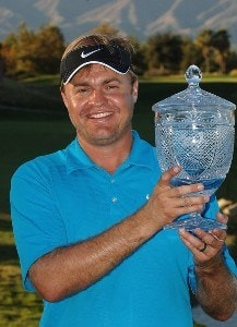 Richard Johnson poses with the trophy after winning the fourth and final round of the Mark Christopher Charity Classic at Empire Lakes Golf Club October 7, 2007 in Rancho Cucamonga, California. Nationwide Tour - 2007 Mark Christopher Charity Classic Pres'd by County of San Bernardino - Final RoundPhoto by Marc Feldman/WireImage.com