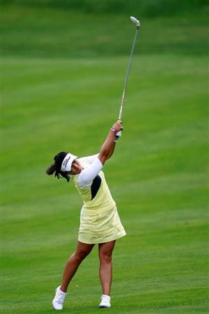 GLADSTONE, NJ - MAY 19:  Jenny Suh hits her second shot to the tenth green during round one of the Sybase Match Play Championship at Hamilton Farm Golf Club on May 19, 2011 in Gladstone, New Jersey.  (Photo by Chris Trotman/Getty Images)