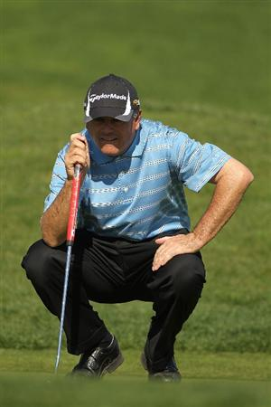 PEBBLE BEACH, CA - FEBRUARY 14:  Paul Goydos lines up a putt on the third hole during the final round of the AT&T Pebble Beach National Pro-Am at Pebble Beach Golf Links on February 14, 2010 in Pebble Beach, California.  (Photo by Ezra Shaw/Getty Images)