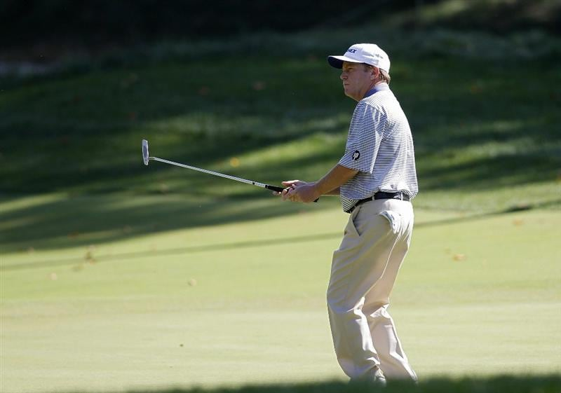 POTOMAC, MD - OCTOBER 10: Jeff Sluman reacts to his missed birdie putt on the sixth green during the final round of the Constellation Energy Senior Players Championship held at TPC Potomac at Avenel Farm on October 10, 2010 in Potomac, Maryland.  (Photo by Michael Cohen/Getty Images)