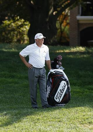 POTOMAC, MD - OCTOBER 10:  Mark O'Meara stands near his bag on the 15th hole during the final round of the Constellation Energy Senior Players Championship held at TPC Potomac at Avenel Farm on October 10, 2010 in Potomac, Maryland.  (Photo by Michael Cohen/Getty Images)