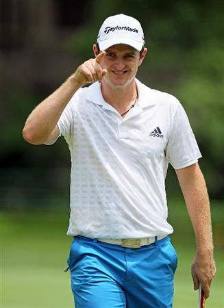 DUBLIN, OH - JUNE 03:  Justin Rose of England celebrates after making a birdie putt on the 6th hole during the first round of The Memorial Tournament presented by Morgan Stanley at Muirfield Village Golf Club on June 3, 2010 in Dublin, Ohio.  (Photo by Andy Lyons/Getty Images)