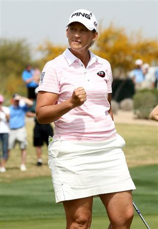 PHOENIX, AZ - MARCH 19:  Angela Stanford pumps her fist after making a birdie putt on the 17th hole during the second round of the RR Donnelley LPGA Founders Cup at Wildfire Golf Club on March 19, 2011 in Phoenix, Arizona.  (Photo by Stephen Dunn/Getty Images)