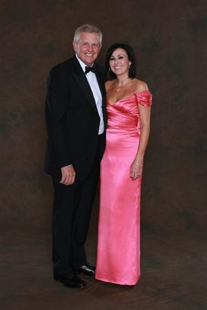 NEWPORT, WALES - SEPTEMBER 29:  European Ryder Cup team captain Colin Montgomerie poses with his wige Gaynor prior to the 2010 Ryder Cup Dinner at the Celtic Manor Resort on September 29, 2010 in Newport, Wales.  (Photo by David Cannon/Getty Images)
