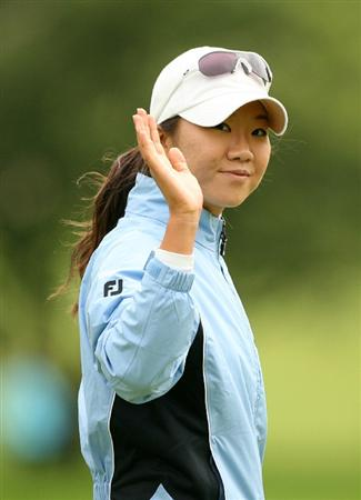 CLIFTON, NJ - MAY 17:  Ji Young Oh of South Korea reacts after making birdie on the 7th hole during the final round of the Sybase Classic presented by ShopRite at Upper Montclair Country Club on May 17, 2009 in Clifton, New Jersey. (Photo by Hunter Martin/Getty Images)