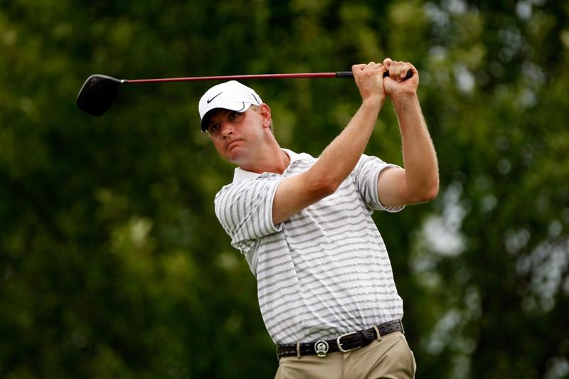 CHASKA, MN - AUGUST 15:  Lucas Glover hits his tee shot on the third hole during the third round of the 91st PGA Championship at Hazeltine National Golf Club on August 15, 2009 in Chaska, Minnesota.  (Photo by Streeter Lecka/Getty Images)