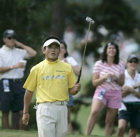 Shigeki Maruyama follows his shot during the third round of the Chrysler Classic of Greensboro at Forest Oaks Country Club in Greensboro, North Carolina, Oct. 1, 2005.Photo by Michael Cohen/WireImage.com