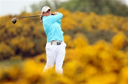 ST. ANDREWS, UNITED KINGDOM - JUNE 01:   Michele Thomson of Scotland and the Great Britain and Ireland Team drives at the 9th hole during the final day singles matches for the 2008 Curtis Cup Matches on the Old Course at St Andrews, on June 1, 2008 in St Andrews, Scotland.  (Photo by David Cannon/Getty Images)