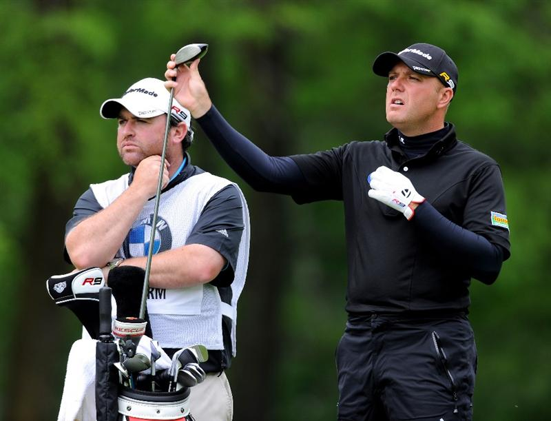 TURIN, ITALY - MAY 08:  Graeme Storm of England and caddie Craig Connelly on the eighth hole look on during the third round of the BMW Italian Open at Royal Park I Roveri on May 8, 2010 in Turin, Italy.  (Photo by Stuart Franklin/Getty Images)