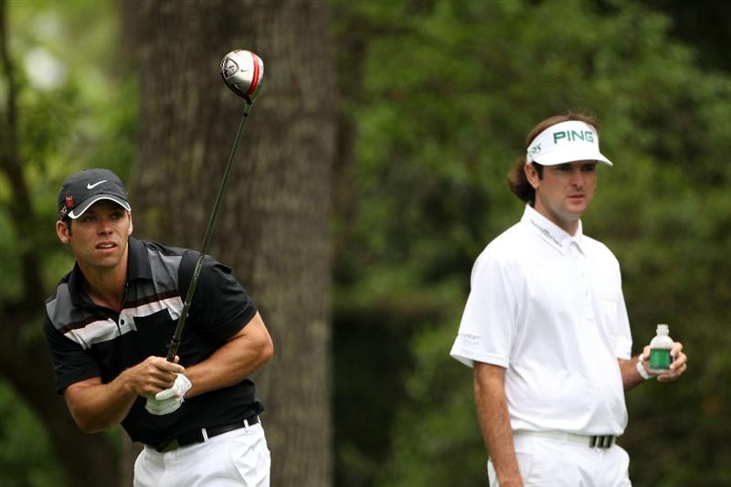 AUGUSTA, GA - APRIL 08:  Paul Casey of England (L) watches his tee shot on the second hole alongside Bubba Watson during the second round of the 2011 Masters Tournament at Augusta National Golf Club on April 8, 2011 in Augusta, Georgia.  (Photo by Andrew Redington/Getty Images)